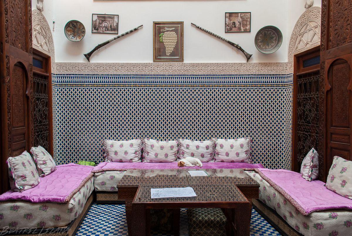 Salón central de Dar Rabha, rihad de Fez
