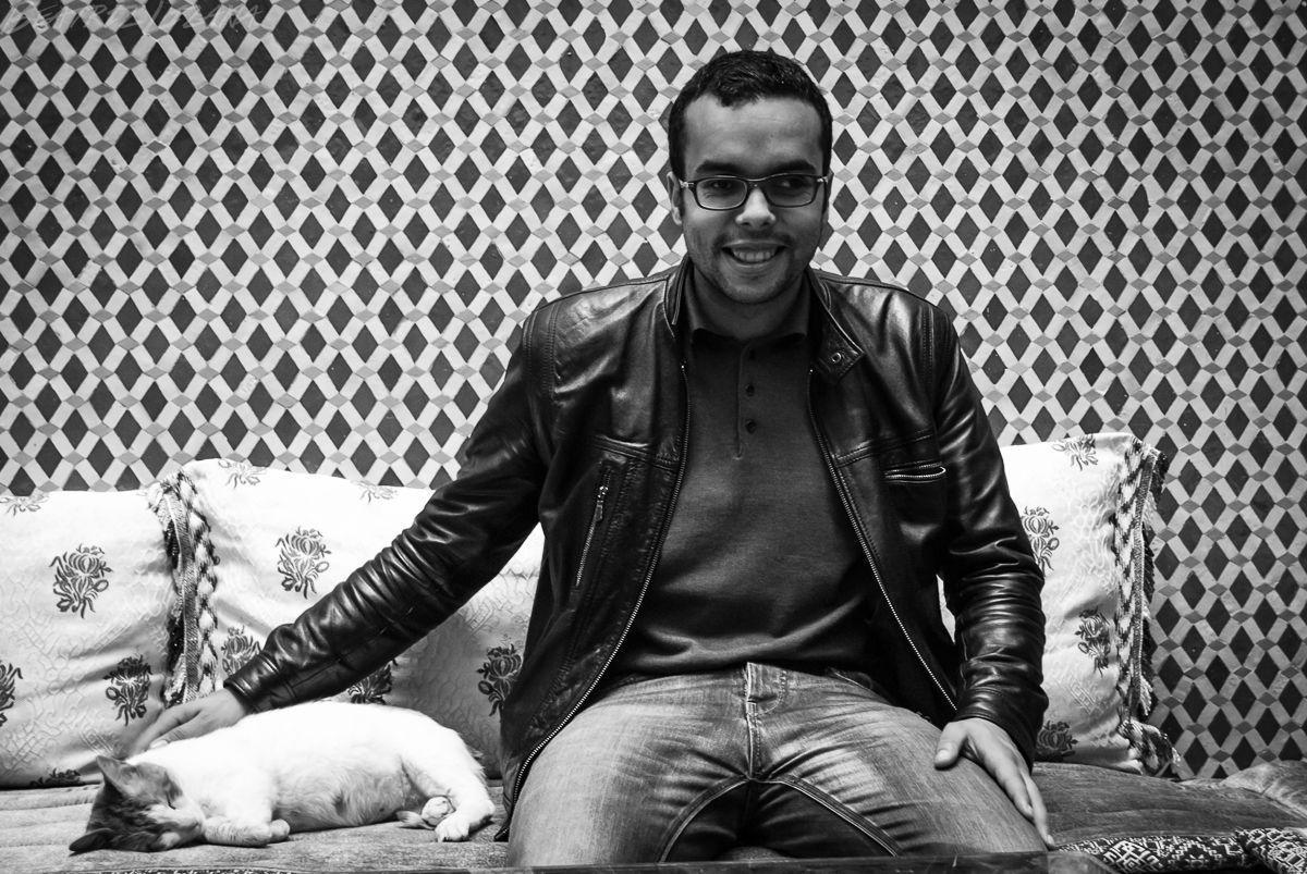 black and white portrait of Sahid Gharib, Dar Rabha hostel manager