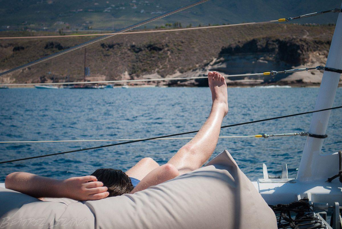 descansando en un barco
